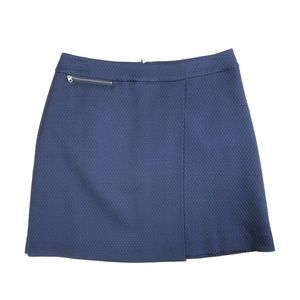 Halogen Textured Blue Skirt With Zipper Detail
